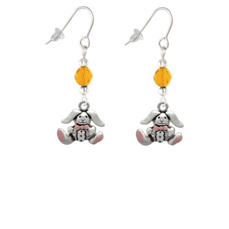 Sitting Bunny with Easter Egg Yellow Bead French Earrings
