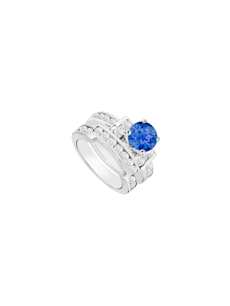 Created Sapphire Cubic Zirconia Engagement Ring with Wedding Band Sets 14K White Gold 1.25 CT by Love Bright