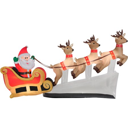 6 Floating Santa Sleigh With Reindeers Airn Inflatable Christmas Prop
