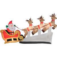 airblown inflatable tall floating santa sleigh with reindeer