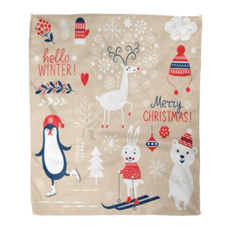 SIDONKU Flannel Throw Blanket Character of Christmas Graphic on Beige Cool Deer Tag Penguin Rabbit 58x80 Inch Lightweight Cozy Plush Fluffy Warm Fuzzy Soft