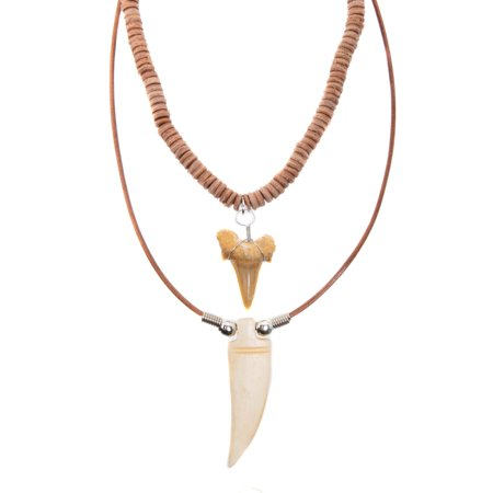 FROG SAC Genuine Shark Tooth and Tiger Tooth Horn Pendant Necklace Set for Men Boys - Handmade - Teeth Pendants on Leather Cord with Ox Bone and Horn Beads - Cool Surfer Hawaiian Beach Style Jewelry - Beaded Necklace Designs