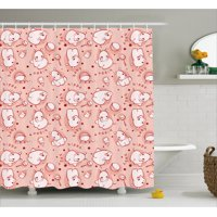Kids Decor Shower Curtain, Cute Baby Hippo Pattern Lovely Wild Animal Girls Boys Playroom Concept, Fabric Bathroom Set with Hooks, 69W X 70L Inches, Coral Red White, by Ambesonne