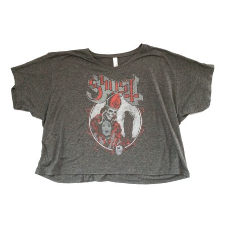 Ghost B.C. Medusa Papa Girls Juniors Gray Crop Top Shirt - Girl Ghost