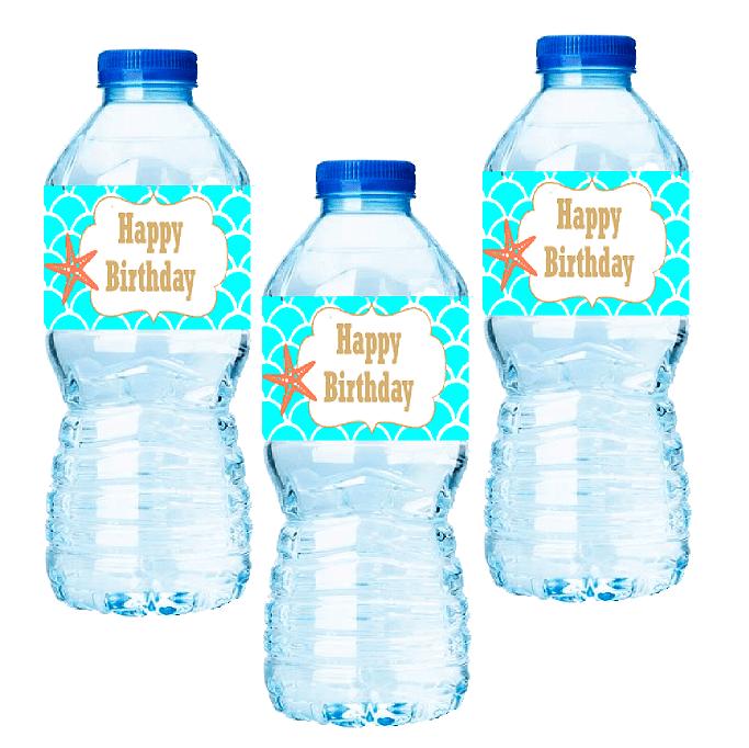 15pack Mermaid Water Bottle Labels