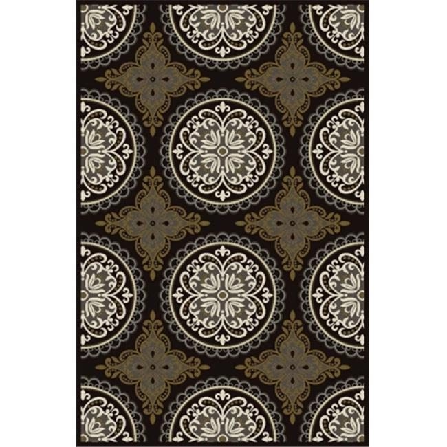 Central Oriental 9008CH58.061 Paris Citron 061 Pena 100 Percent Heat Set Polypropylene Rug, Charcoal - 5 x 7 ft. 6 in.