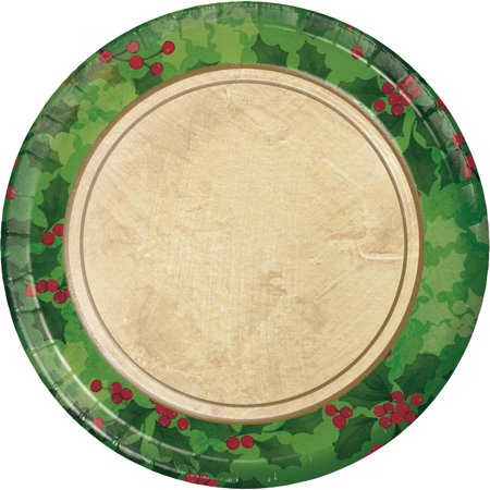 Ivory Holly - Club Pack of 216 Green and Ivory Gilded Holly Luncheon Plates 6.75