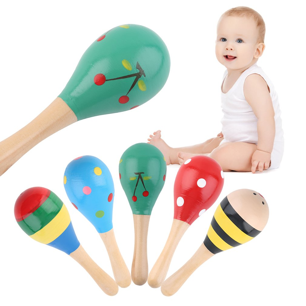 5pcs Baby Kids Sound Music Gift Toddler Rattle Musical Wooden Colorful Toys by konxa