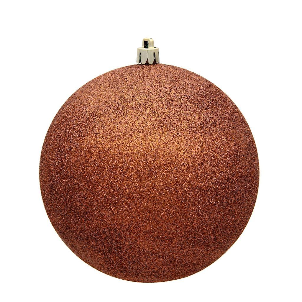 "Vickerman 486047 - 6"" Copper Glitter Ball Christmas Christmas Tree Ornament (4 pack) (N591588DG)"