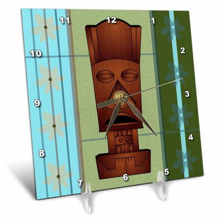 (3dRose Wood grain Tropical Tiki Mask - Hawaiian Flowers Orange Blue and Green, Desk Clock, 6 by 6-inch)