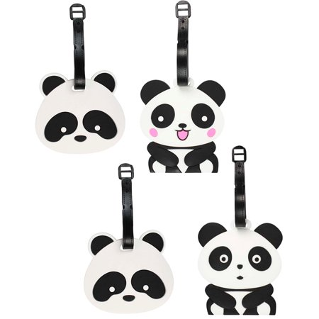 [4 PACK], Cute Panda Durable Silicone Luggage Tag Set w/ Adjustable Strap for School bag, Travel Suitcase