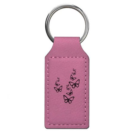 Keychain - Butterflies - Personalized Engraving Included (Pink Rectangle)