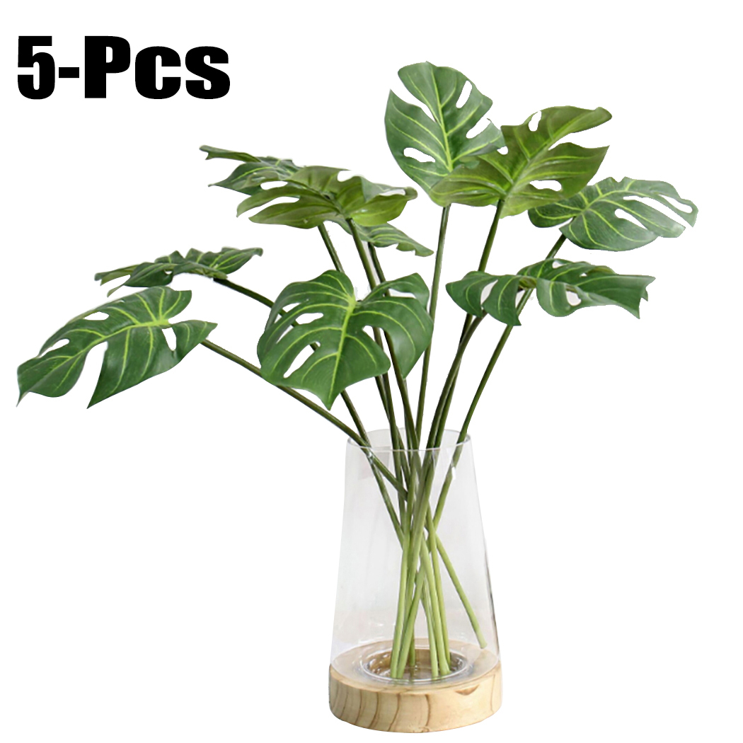 Outgeek 5 Branches Artificial Plants Simulative Tropical Palm Plants Fake Party Plants Faux Plants Art Decorations for Home Living Room Bedroom Garden Wedding Party Decor