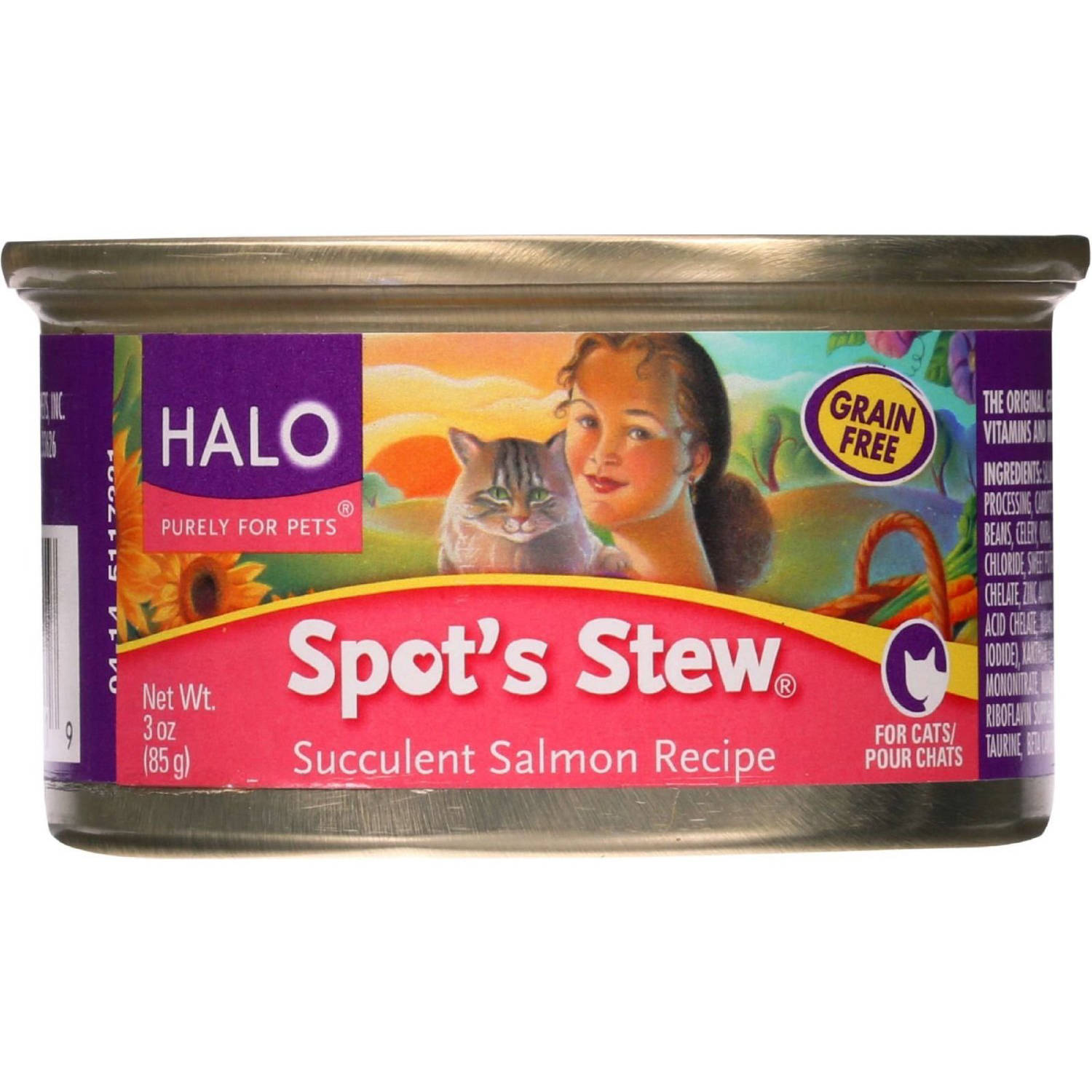 Halo Spot's Stew Succulent Salmon Recipe Canned Cat Food, 3 oz, 12 - Pack