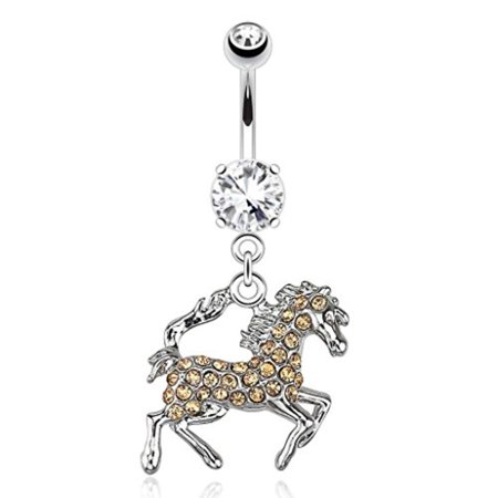 BodyJ4You Champagne Crystal Gem Horse Belly Ring Navel Dangle 14G Piercing Jewelry