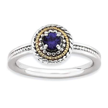 Sterling Silver & 14k Stackable Expressions Created Sapphire Ring Size 7 - image 3 of 3