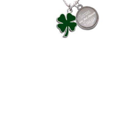 Silvertone Two Sided Green Enamel Lucky Four Leaf Clover Sisters Are Best Friends Forever Engraved