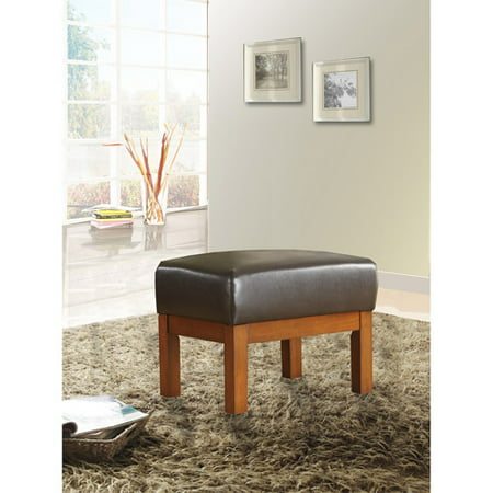 Mission Oak Faux Leather Ottoman, Dark Brown
