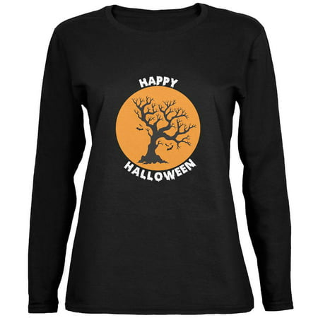 Happy Halloween Tree Silhouette Black Womens Long Sleeve T-Shirt - Happy Halloween Furniture