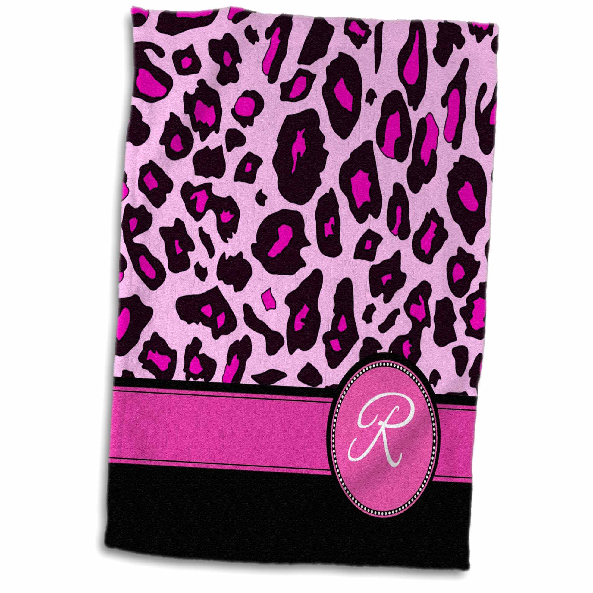 3dRose Personalized initial R monogrammed hot pink and black leopard pattern animal print - personal letter - Towel, 15 by 22-inch