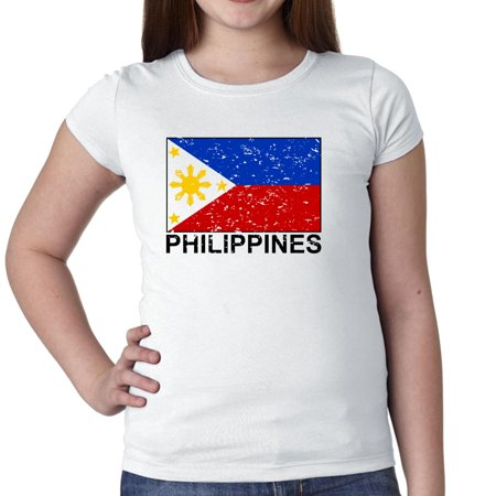 Philippines Flag - Special Vintage Edition Girl's Cotton Youth T-Shirt