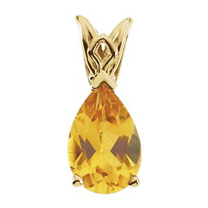 Pear Scroll - Jewels By Lux Citrine Pear Scroll Setting® Pendant