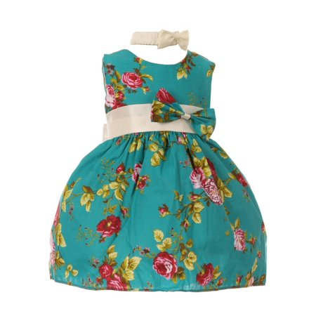 Baby Girls Teal Red Rose Print Bow Attached Stylish Flower Girl Dress