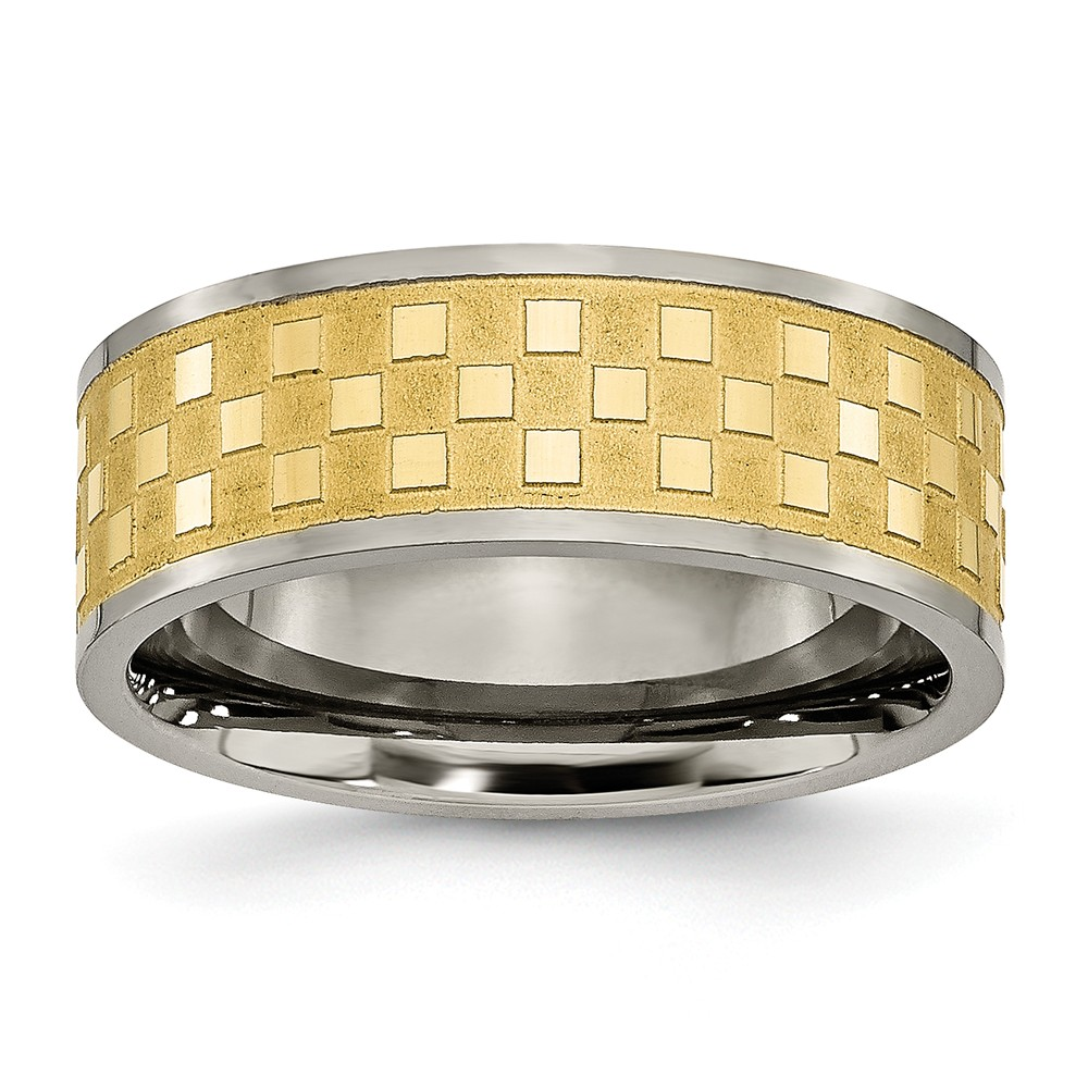 Men's Titanium Yellow IP-plated Satin and Polished Checkered Wedding Band Ring