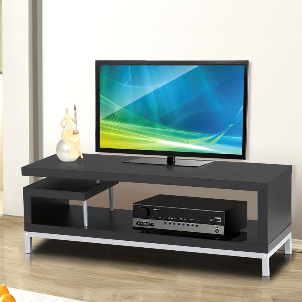 YaHeetech Black Wood TV Stand Console Table Home Entertainment Center Media Cabinets Steel Leg for Flat Screens by Yaheetech