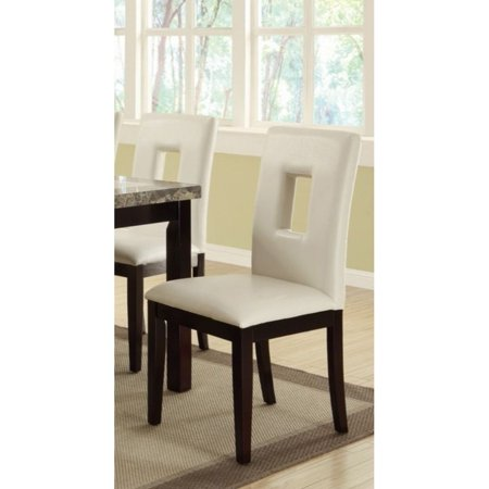 Benzara Clic Pine Wood Dining Chairs Set Of 2 White And Brown