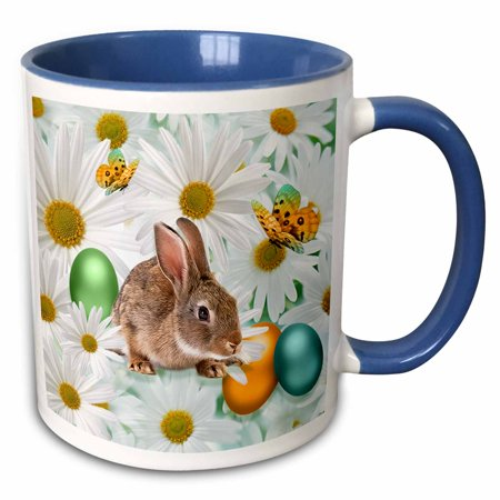 3dRose Easter Bunny Daisy Garden with Colored Eggs and Butterflies - Two Tone Blue Mug,