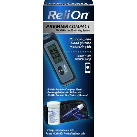 ReliOn Premier Compact Blood Glucose Monitoring Kit (Diabetes Test Kit Case)