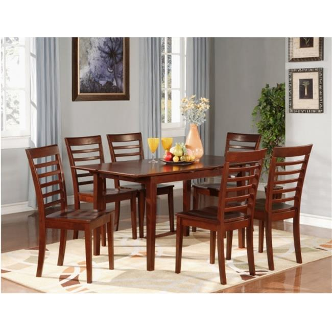 Wooden Imports Furniture PS7-MAH-W 7PC Picasso Rectangular Table and 6 Wood Seat Chairs - Mahogany Finish