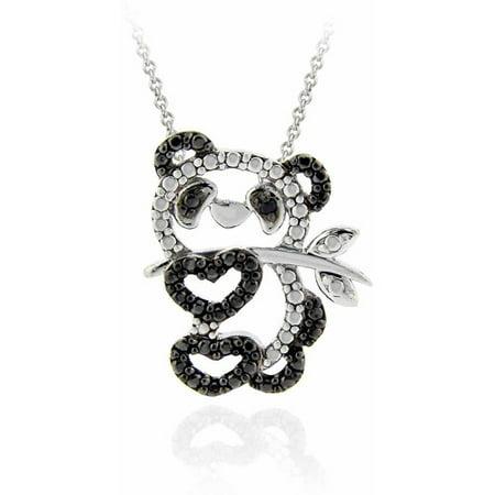 Diamond Brick - Black Diamond Accent Silver-Tone Panda Necklace