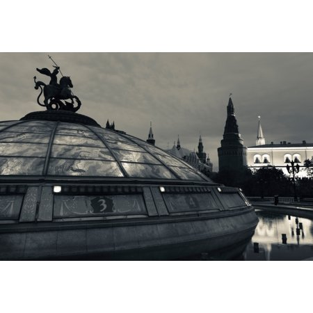 Dome of the Okhotny Ryad at dawn Manezhnaya Square Moscow Russia Canvas Art - Panoramic Images (27 x (Manezhnaya Square)