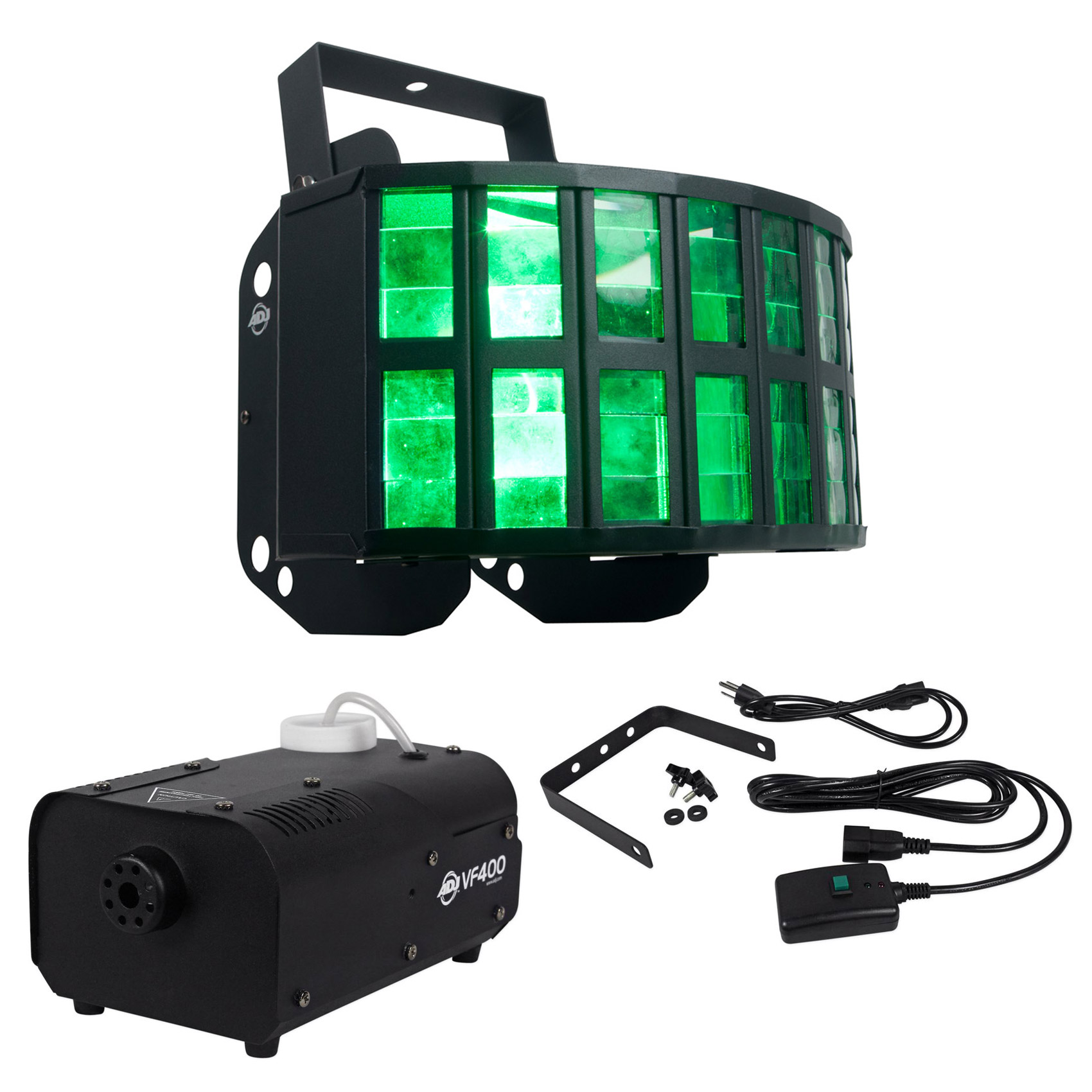 American DJ ADJ AGGRESSOR HEX LED 6-Color Sound-Activated Light + Fog Machine by American DJ