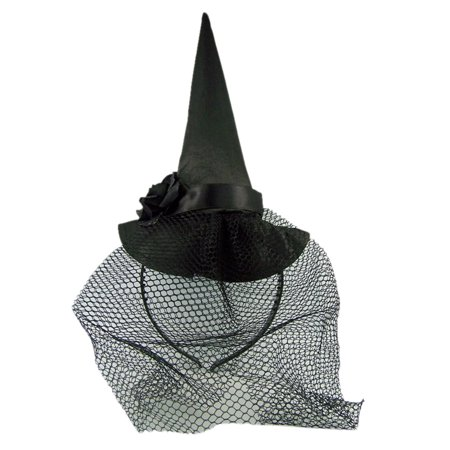 Halloween Cupcakes Witches Hats (Halloween Black Witch Hat with Veil Headband)