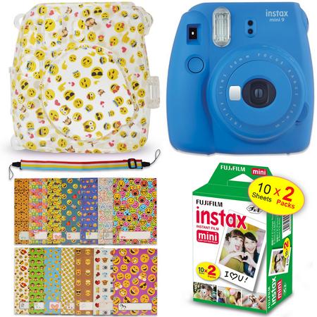 Semi Hard Camera Case - Fuji Instax Mini 9 EMOJI Kit - Instant Camera COBALT BLUE + Mini 9 EMOJI Hard Camera Case + FujiFilm Mini Film (20 Sheets) + 20 EMOJI Sticker Frames + Rainbow Neck/Shoulder Strap