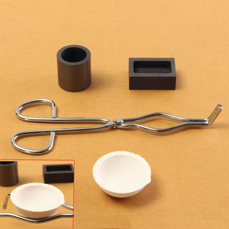 4Pcs 16OZ Gold Graphite Crucible Cup + Tongs + 1 Melting Smelting Bowl + Ingot Mold Casting