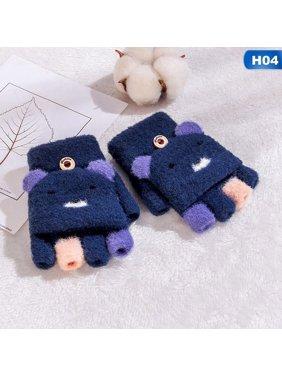 AkoaDa 2019 Winter Kids Warm Gloves Cashmere Knit Flip Half Finger Gloves Cute Cartoon Bear Mittens For Boys Girls 4-12Y