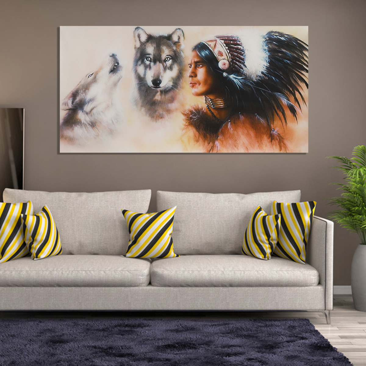 Indian Man Wolf Oil Painting Picture Canvas Prints Modern Shop Office Home Living Room Bedroom Wall Art Sticker Decor Without Frame 31 5 X 15 7