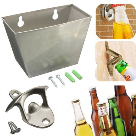 1Set Wall Mount Stainless Steel Bar Beer Bottle Opener Tool + Cap Catcher Box with (Wall Mounted Bottle Opener With Magnetic Cap Catcher)
