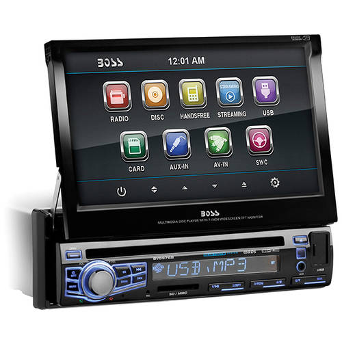 "Boss Audio BV9976B - Single Din 7"" Motorized Touchscreen Monitor, Bluetooth Enabled/Audio Streaming, DVD/MP3/CD AM/FM Receiver  with USB, SD Memory Card Ports, Front Panel Aux Input"