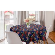 """Asian Round Tablecloth, Traditional Japanese Koi Fish Pattern Carnation Flower Petals and Leaves, Circle Table Cloth Cover for Dining Room Kitchen Decor, 60"""", Coral Red and Indigo, by Ambesonne"""