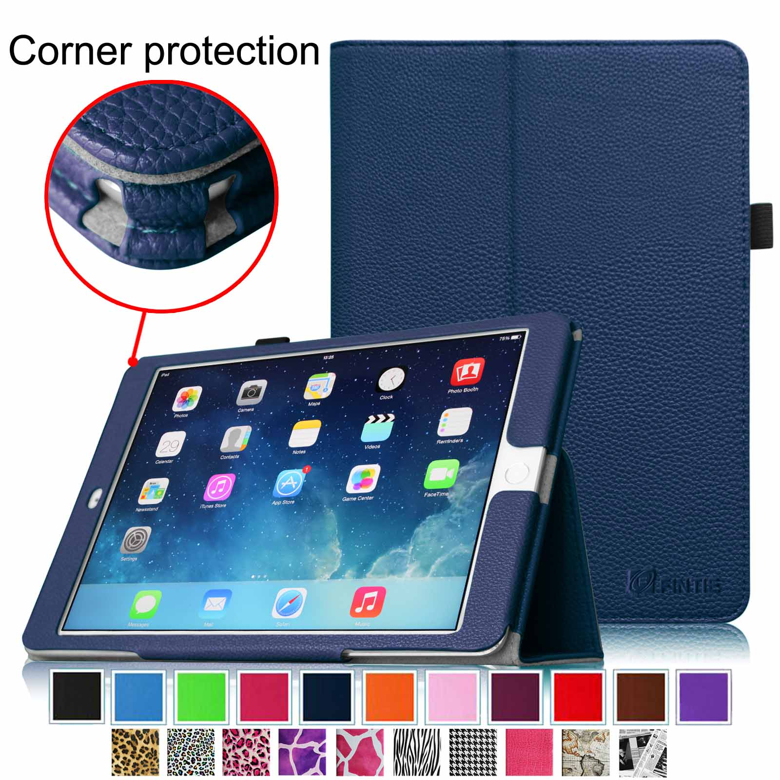 iPad Air 2 Case - Fintie Slim Fit Leather Folio Cover with Auto Sleep / Wake Feature, Navy