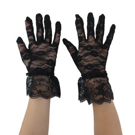 Women Driving Spring Summer Full Finger Sun Resistant Gloves Mittens Black Pair