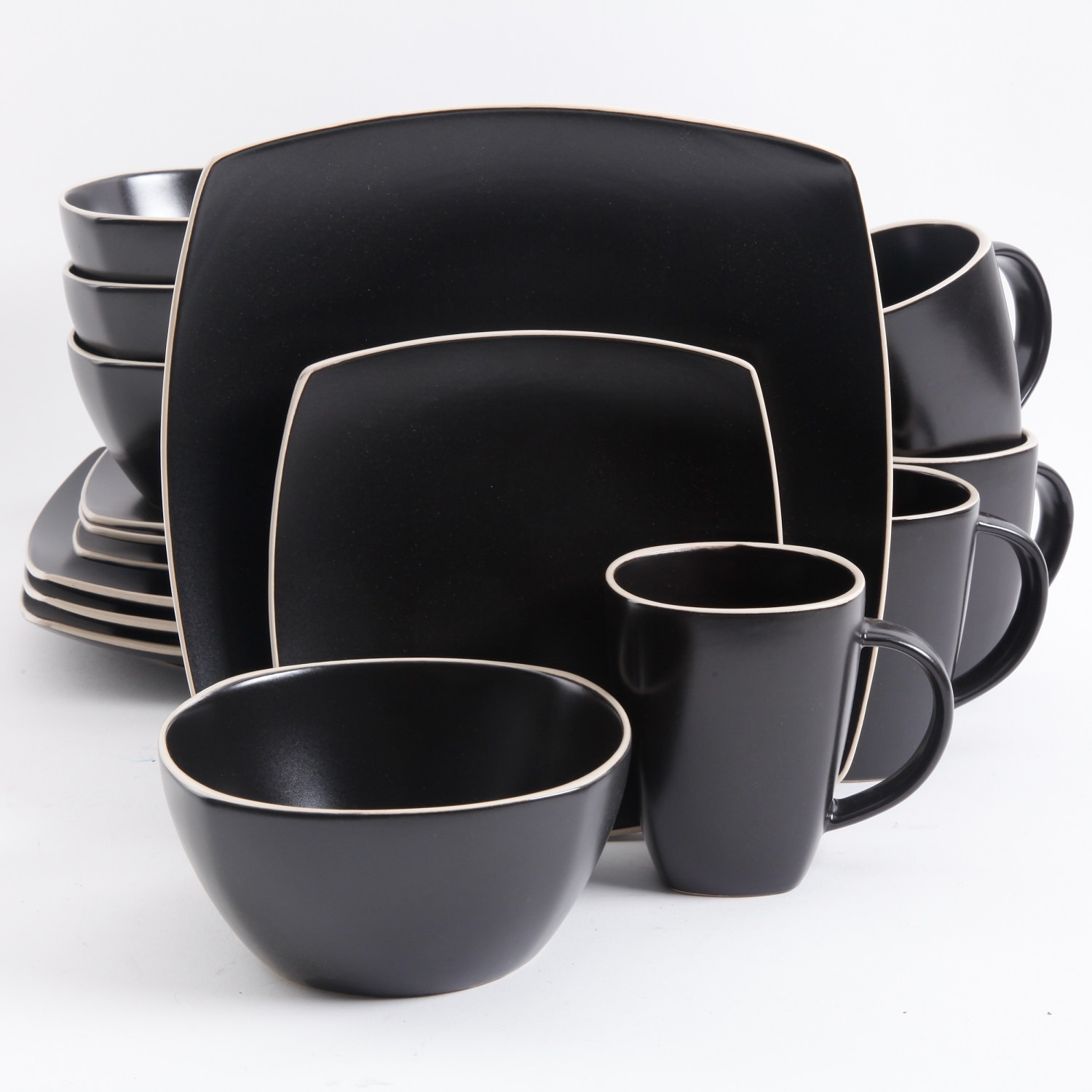 Gibson Home Soho Lounge Square 16 Pc. Dinnerware Set, Matte Black