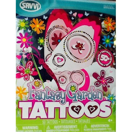 Temporary Tattoos ~ Fantasy Garden ~ Temporary Tattoos 50 +, Savvi Fantasy Garden Temporary Tattoo Pack, 50+