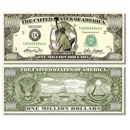 "50 Miss Liberty Million Dollar Bills with Bonus ""Thanks a Million"" Gift Card"