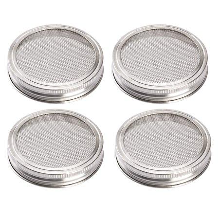 4 Pcs Jar Lid - Uarter mason jars Sprouting Jar Lid Kit Strainer Lid Set Rustproof Canning Jar Lids for Wide Mouth Jars (Stainless Steel)
